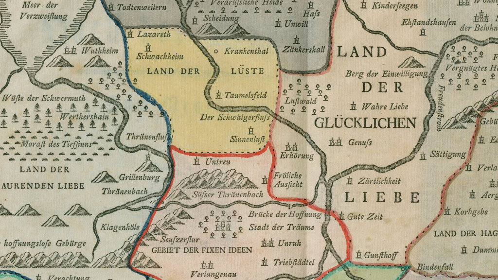 in the 18th century sentimental cartography was very much la mode with this map as one of the finer examples das reich der liebe the empire of