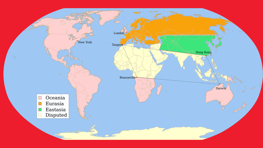 A map of george orwells 1984 big think in george orwells dystopian novel 1984 the world is ruled by three superstates gumiabroncs Choice Image