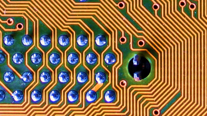 A close up of a computing circuit board