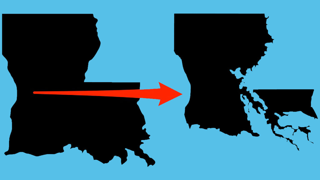 Louisianas State Map Is Changing Due To Flooding And Climate - Lousiana state map