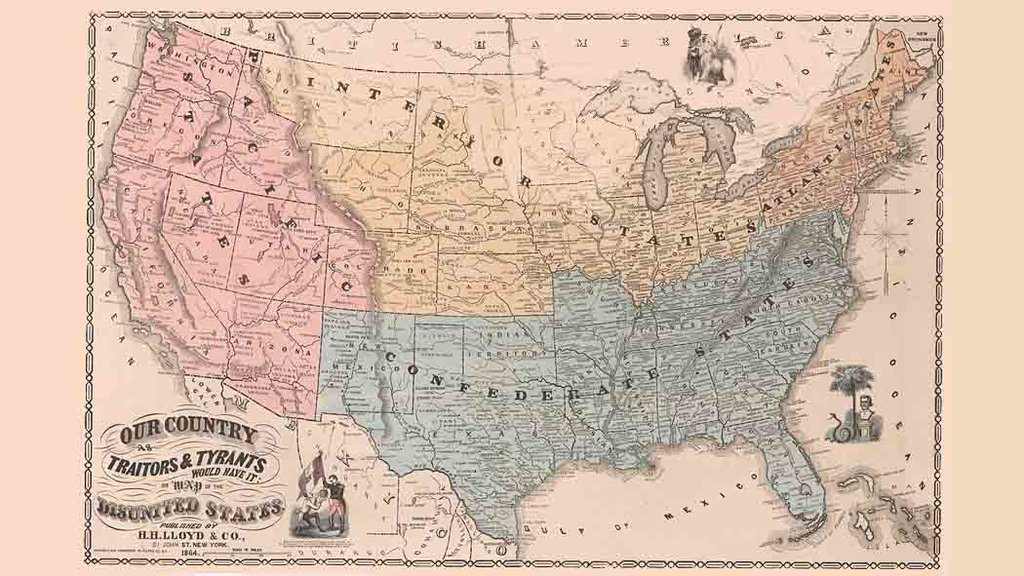 A Map Of The Disunited States As Traitors And Tyrants Would Have - Us civil war states map
