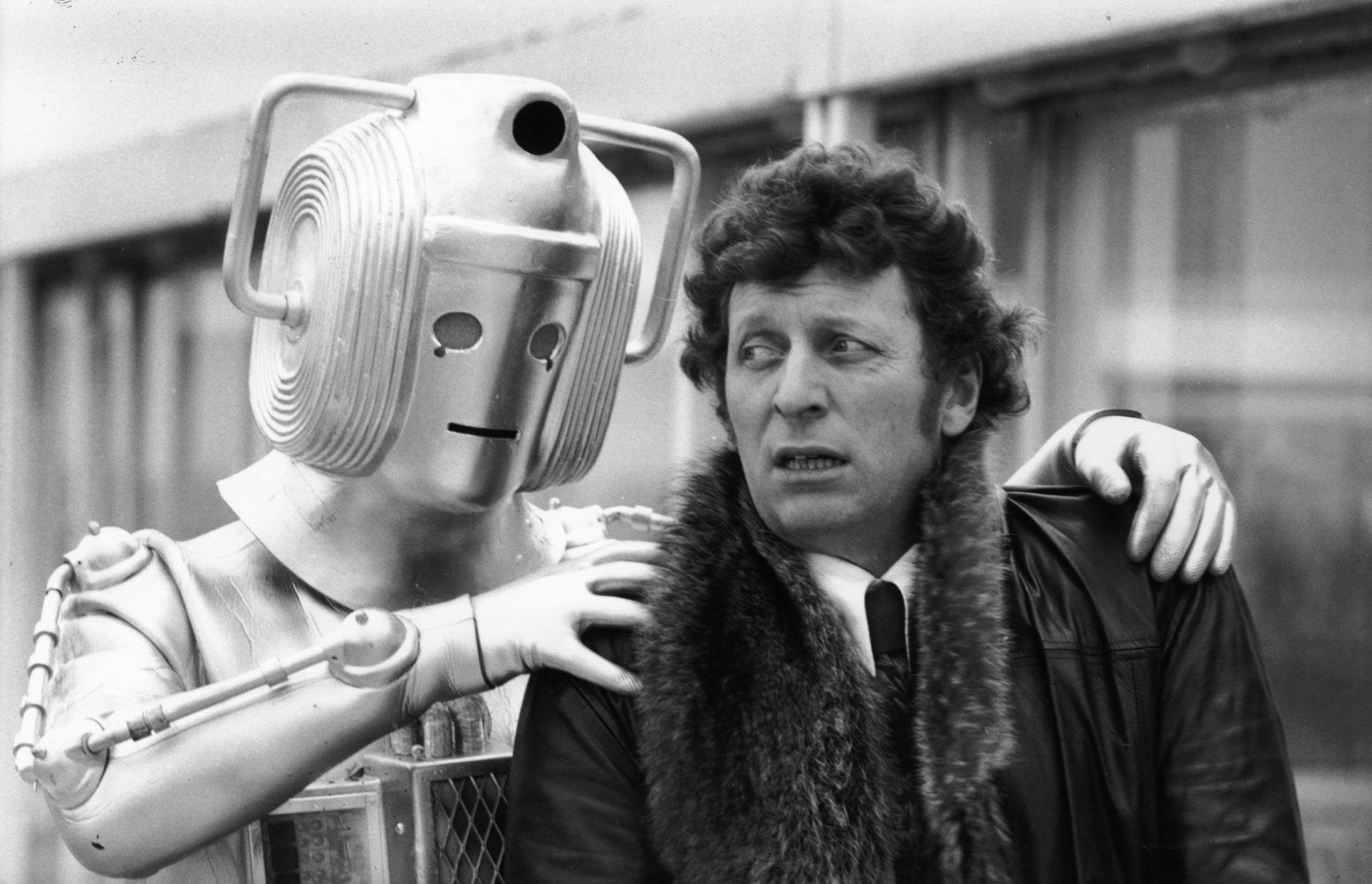 Dr Who (Tom Baker) meets one of the monsters from his new series. (Photo by Frank Barratt/Getty Images)