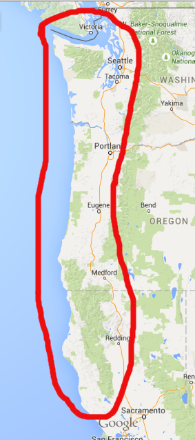 The American Pacific Northwest region which would be devastated by a potential earthquake.