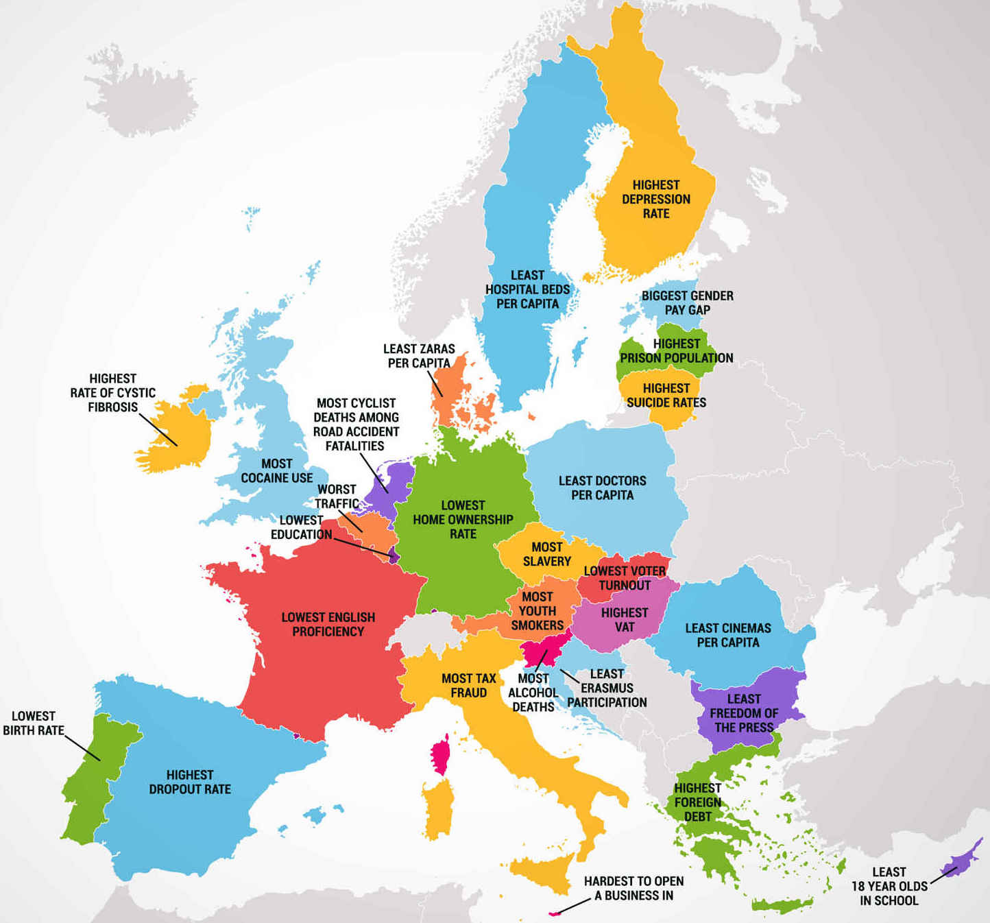 Four maps show 50 states and european countries best and worst