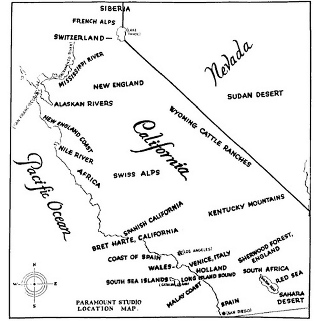 Map of filming locations in California, produced by Paramount in 1927