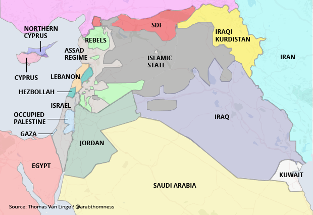 A real map of the middle east big think the syrian central government in light grey based in damascus controls a coastal strip of territory in a patchwork shared with a number of rebel forces gumiabroncs Image collections
