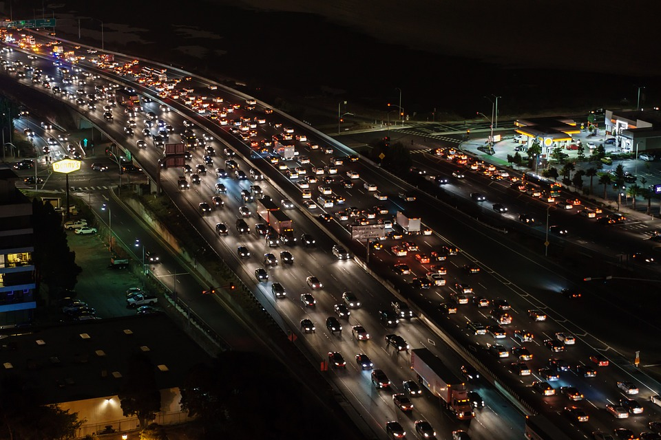 Traffic jam at night on highway