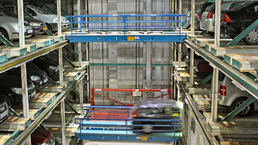 Elevated robotic parking facility