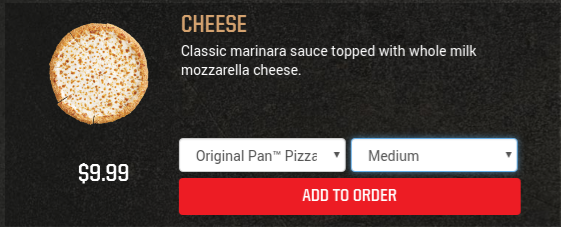 Screenshot from PizzaHut.com on April 11, 2017