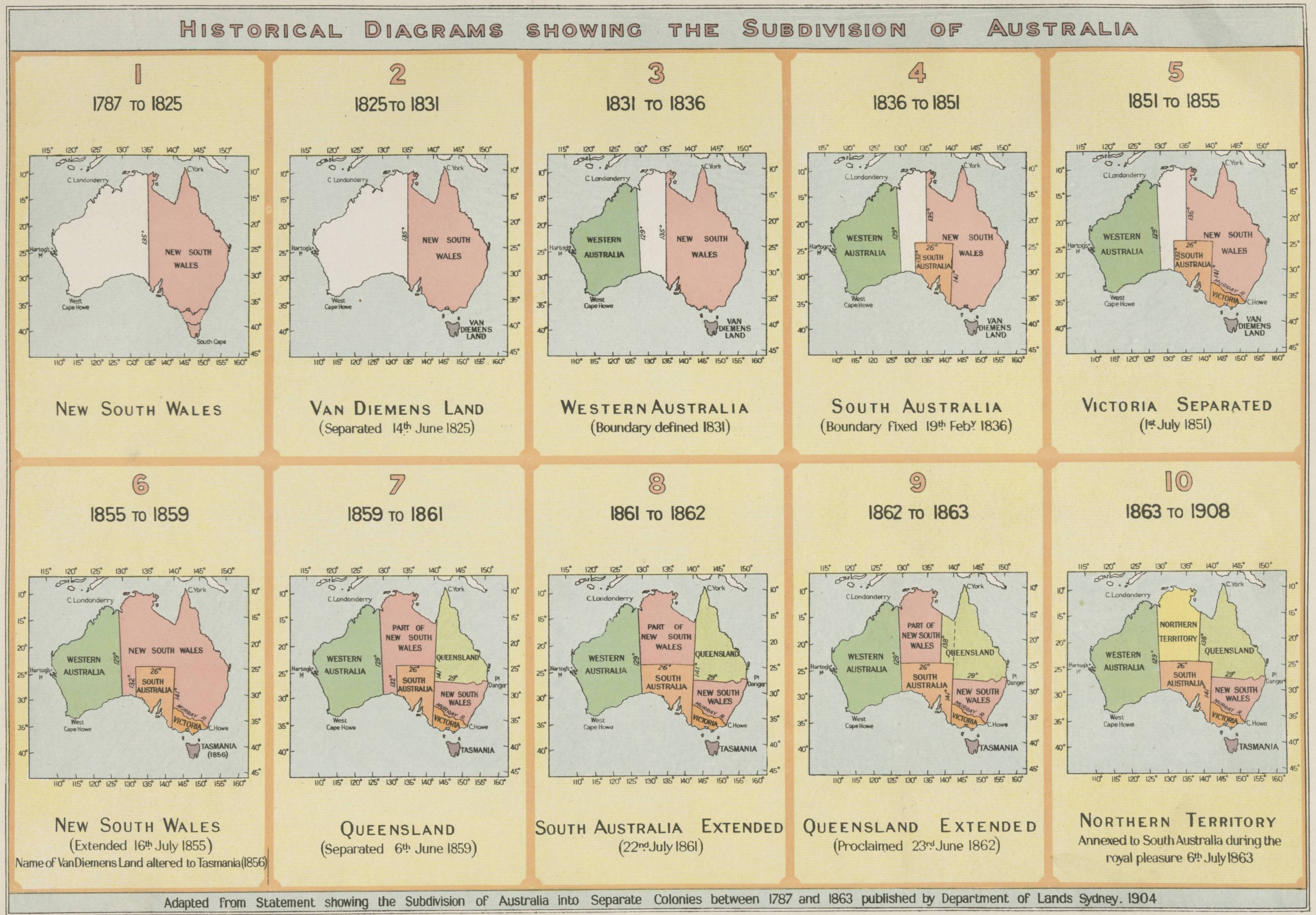 the map dating from 1904 shows the evolution of nsw and the nameless other half of the country to australia