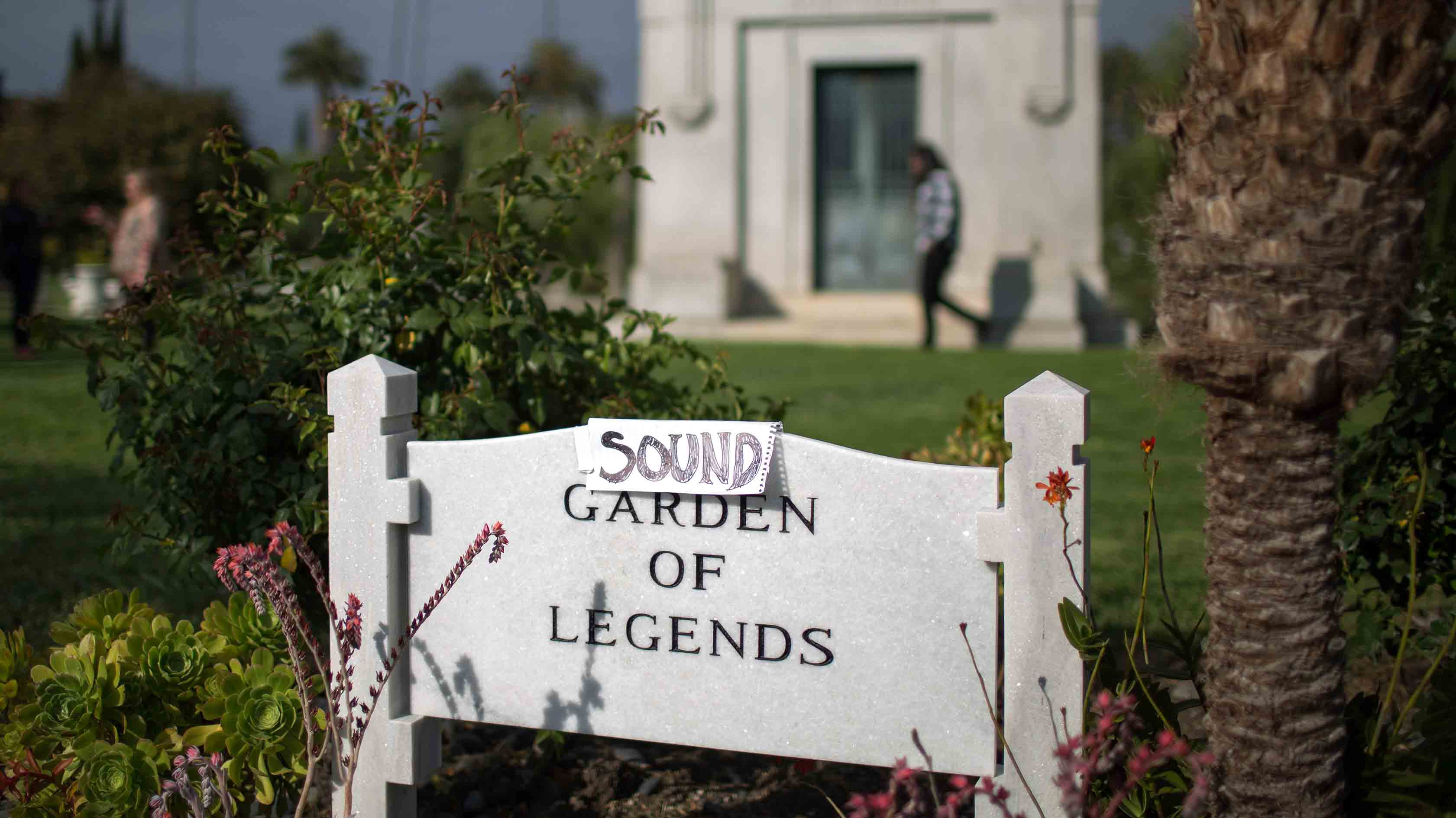 An improvised sign turns the Garden of Legends to the Sound Garden of Legends where Chris Cornell is buried following funeral services for Soundgarden frontman Chris Cornell were held at Hollywood Forever Cemetery on May 26, 2017 in Hollywood, California.