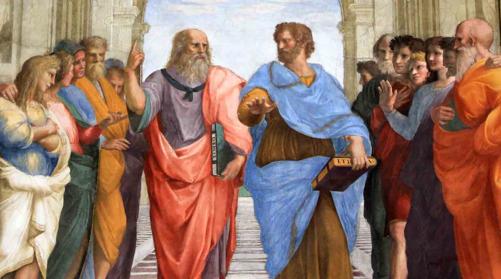 Plato and Aristotle walking at the Athens School