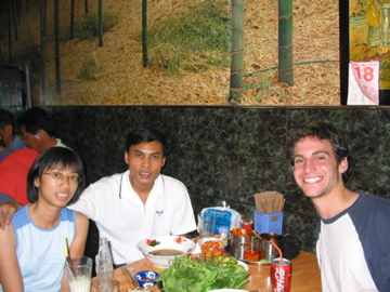 Noodles with new friends in Vietnam