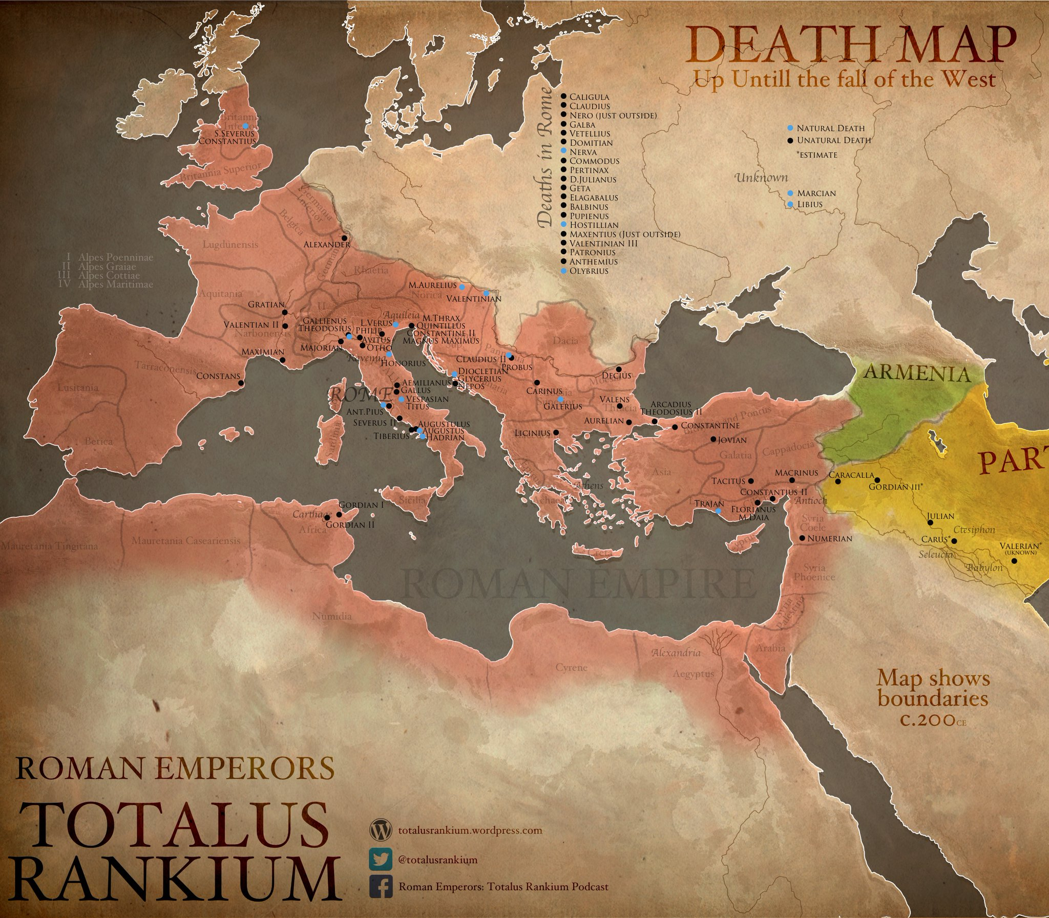 Veni vidi gone a death map of roman emperors big think on the roman empire its leaders and their deaths check out the totalus rankium twitter feed and podcast causes of death graph found here on reddit gumiabroncs Choice Image