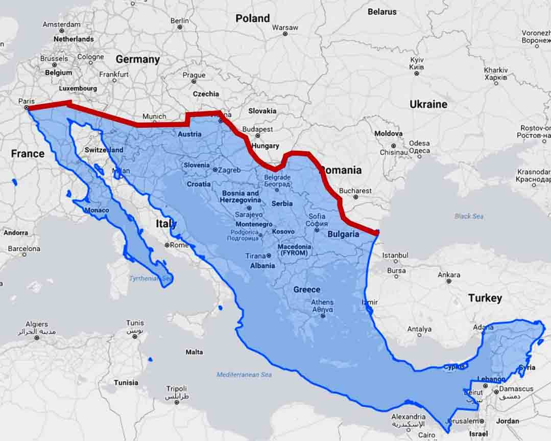 Us mexico border wall would divide europe in half big think the length of the us mexico border is not actually agreed upon the international boundary and water commission extends the border to measure 1954 land gumiabroncs Gallery
