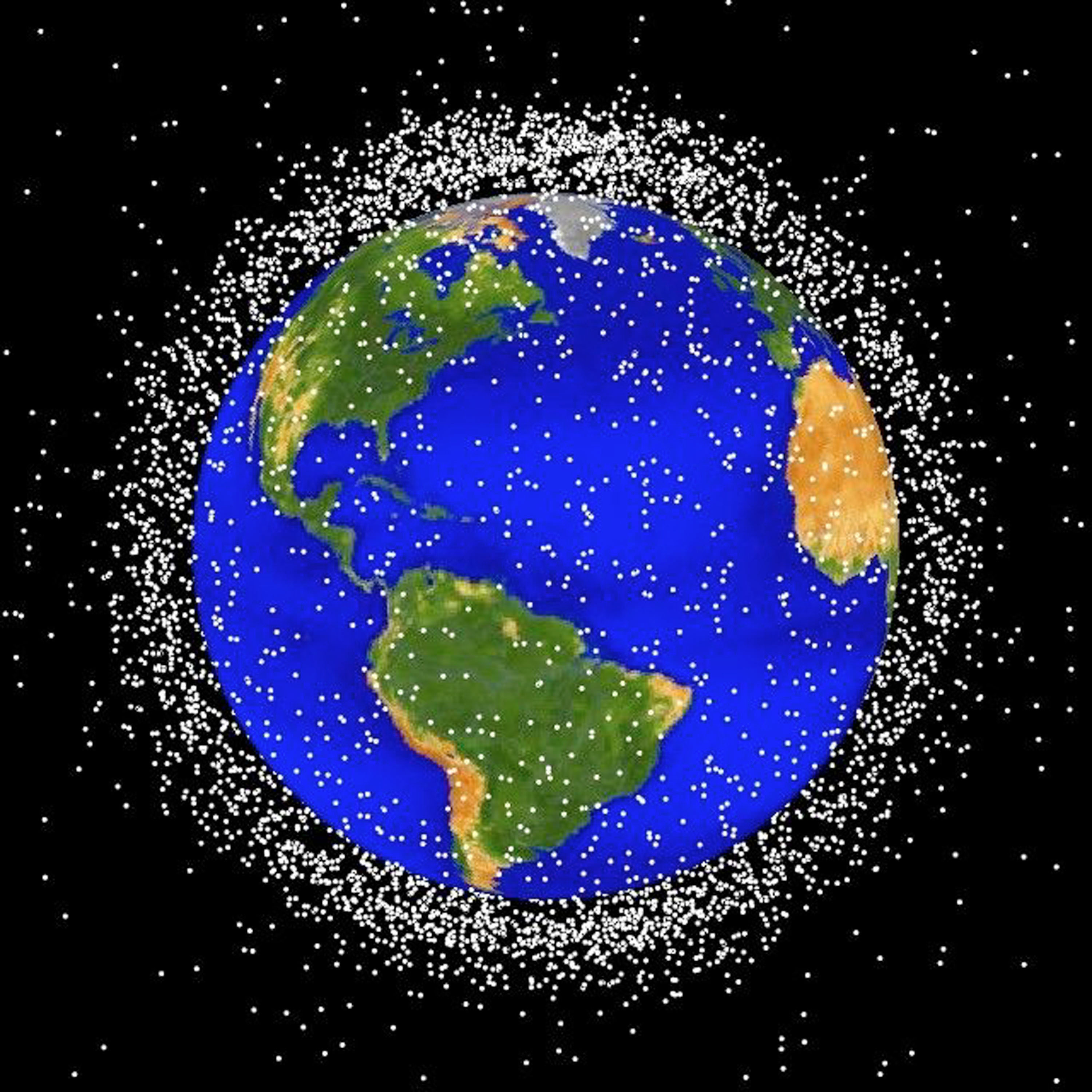 Graphical Representation Of Space Debris Around Earth GRAPHIC - (CIRCA 1989): This National Aeronautics and Space Administration (NASA) handout image shows a graphical representation of space debris in low Earth orbit. According to the European Space Agency there are 8,500 objects larger than 10 cm (approximately 3.9 inches) orbiting the earth and 150,000 larger than 1 cm (approximately 0.39 inches). NASA investigators are looking into the possibility that space debris may have caused the break up of the Space Shuttle Columbia upon reentry February 1, 2003 over Texas. (Photo by NASA/Getty Images)