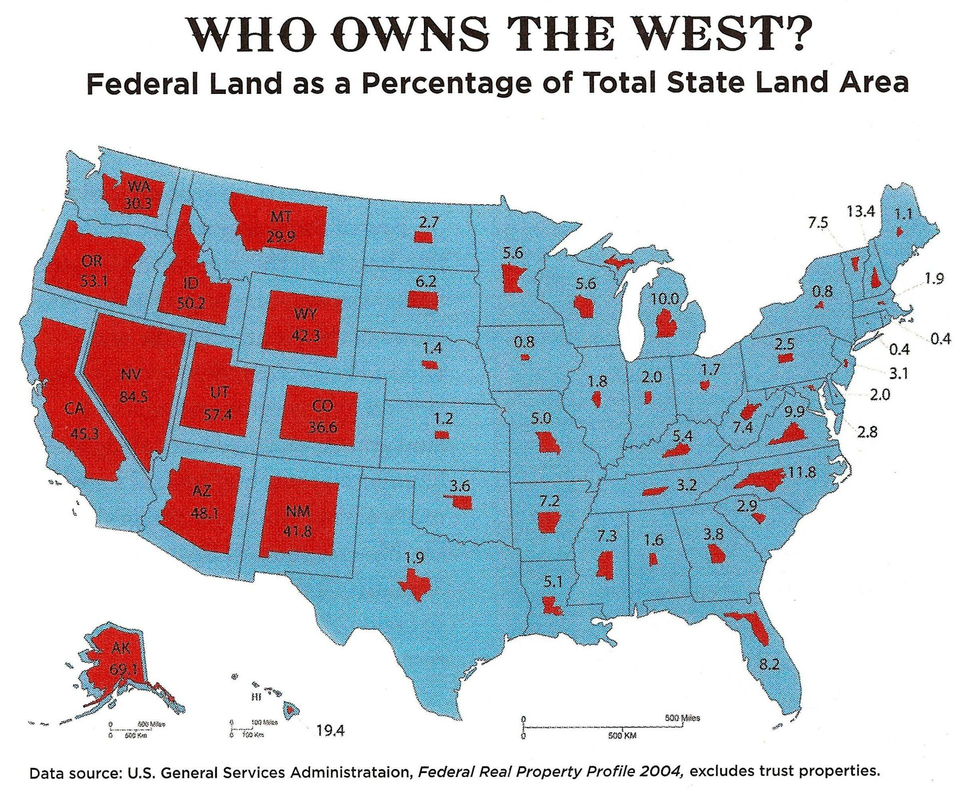 Map Of Federal Land Map of US territory owned by the US Federal government within each  Map Of Federal Land